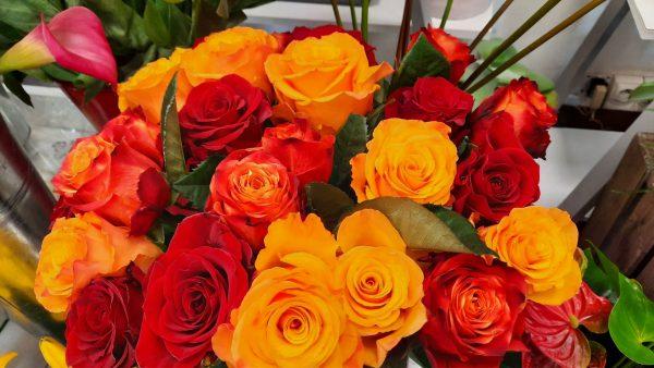 bouquet rose tons chauds